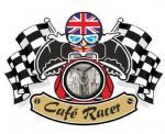 Retro CAFE RACER  Ton Up Club Design With Union Jack Flag Motif For British Bike External Vinyl Car Sticker 90x65mm